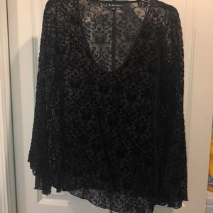 FLL black burnout top with boho sleeves